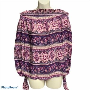 Beachlunchlounge pink/purple off shoulder top XS